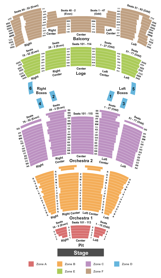Moran Theater at Times Union Ctr Perf Arts Seating Chart Plan