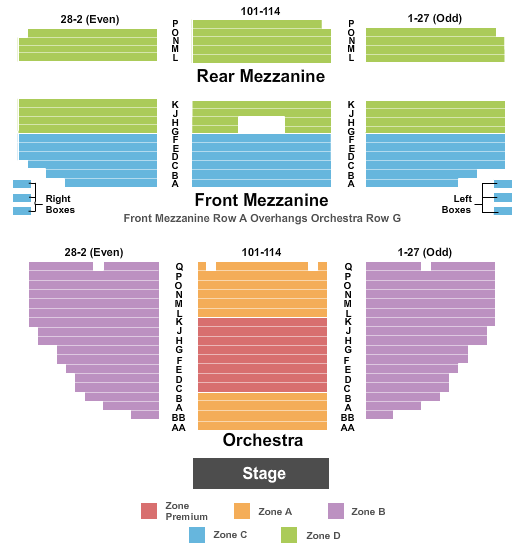 Nederlander Theatre - NY Seating Map