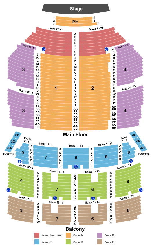 seating chart for Orpheum Theatre - Minneapolis End Stage Zone - eventticketscenter.com