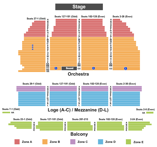 Orpheum Theatre - San Francisco Seating Chart Plan