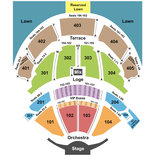 seating chart for PNC Bank Arts Center Endstage 2 - eventticketscenter.com