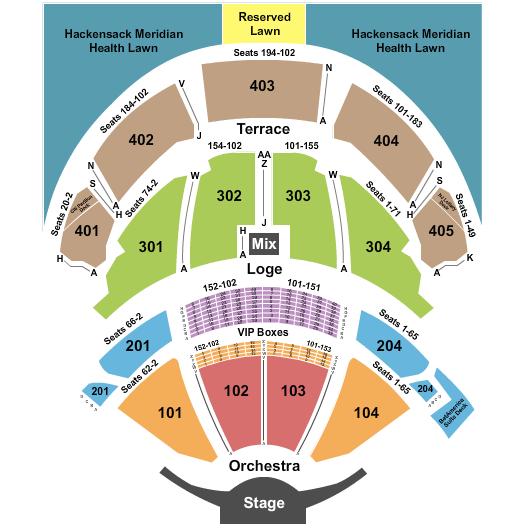 seating chart for PNC Bank Arts Center Endstage 3 - eventticketscenter.com