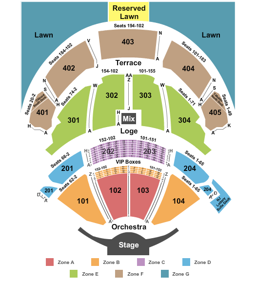 seating chart for PNC Bank Arts Center End Stage Zone - eventticketscenter.com