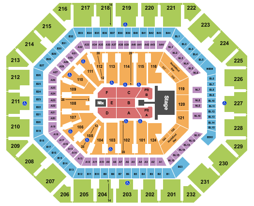 seating chart for Phoenix Suns Arena Kane Brown - eventticketscenter.com