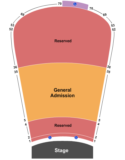 seating chart for Red Rocks Amphitheatre Endstage Resv 1-4 & 36-39 GA 5-35 - eventticketscenter.com