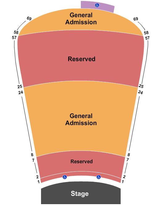 seating chart for Red Rocks Amphitheatre RSV 1-7, 25-57, GA 8-24, 58-69 - eventticketscenter.com
