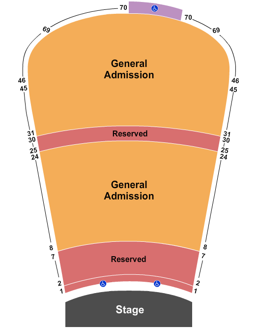 seating chart for Red Rocks Amphitheatre Resv 1-7, 25-30 & GA 8-24, 31-69 - eventticketscenter.com