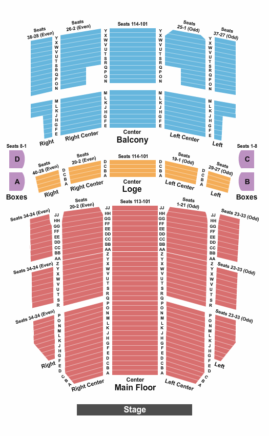 Rochester Auditorium Theatre Endstage - No Pit seating chart - eventticketscenter.com