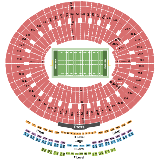 Rose Bowl Stadium - Pasadena seating chart event tickets center