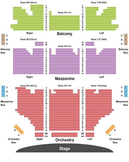 Shubert Theater - CT Seating Chart Plan