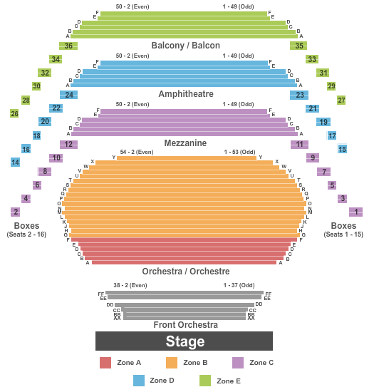 Southam Hall at National Arts Centre Seating Chart Plan