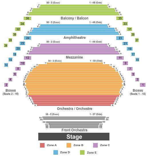 Southam Hall at National Arts Centre Seating Chart Plan