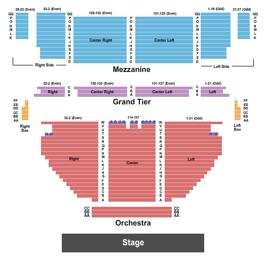 Stamford Center For The Arts - Palace Theatre Seating Chart