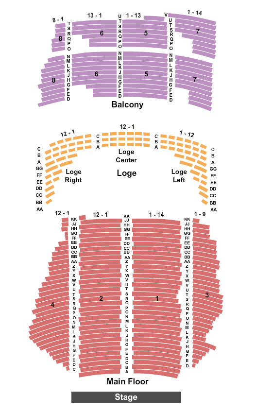 seating chart for State Theatre - MN End Stage - eventticketscenter.com
