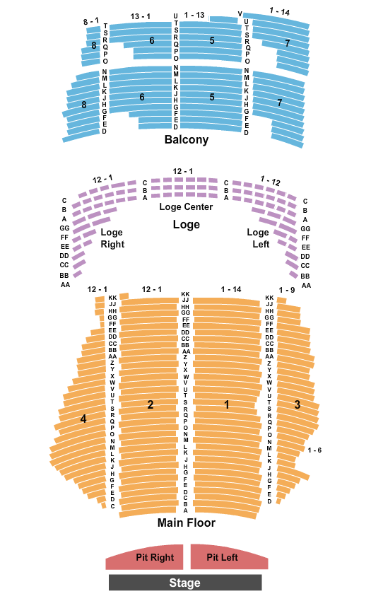 State Theatre - MN Endstage w/ Pit seating chart - eventticketscenter.com