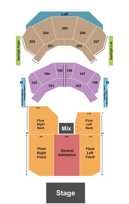 The Andrew J Brady ICON Music Center Floor Plan
