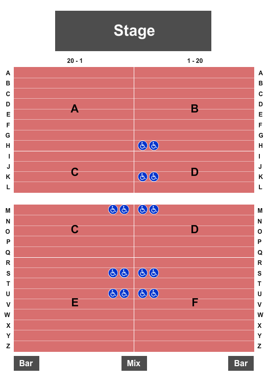 The Oak Ballroom at Viejas Casino & Resort Seating Chart