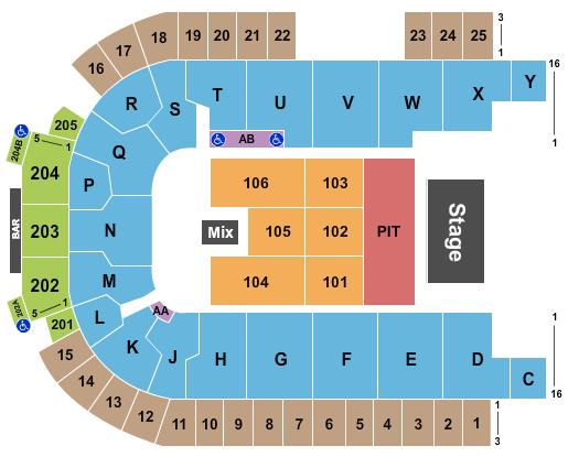 seating chart for The Sanford Center Endstage GA Pit - eventticketscenter.com
