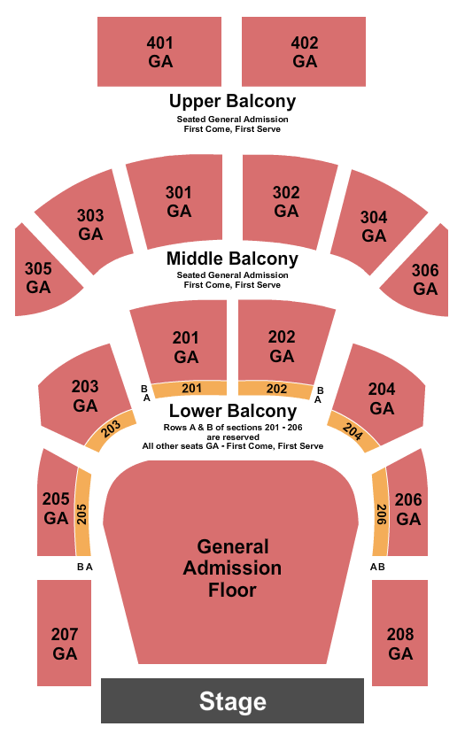 The Tabernacle - GA Seating Chart