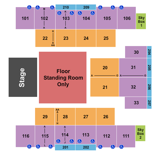 Event Center at Turning Stone Resort & Casino Seating Chart