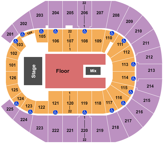 Simmons Bank Arena seating chart event tickets center