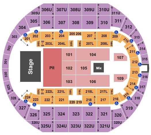 Propst Arena at the Von Braun Center Floor Plan