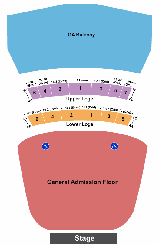Warfield seating chart event tickets center